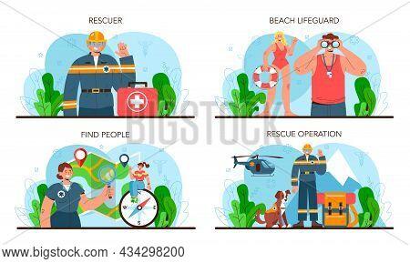 Rescuer Set. Emergency Help, Ambulance Lifeguard In Uniform Assisting