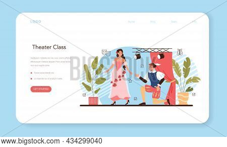 Drama School Class Or Club Web Banner Or Landing Page. Students Playing