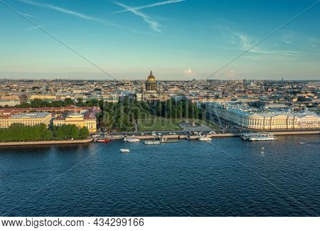 Aerial view of Saint Isaac's Cathedral at sunset, the city center of St. Petersburg, Russia.