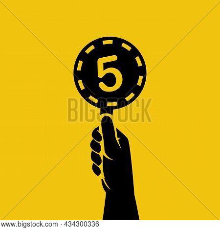 Score Card 5. Number Table. Digit Rating On A Scorecard. Human Hand Holding Score Card. Black Scorec