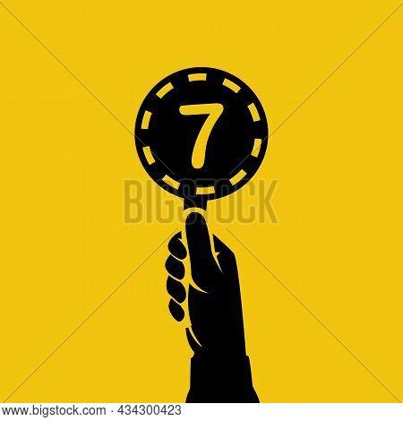 Score Card 7. Number Table. Digit Rating On A Scorecard. Human Hand Holding Score Card. Black Scorec