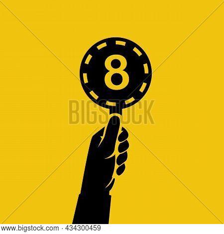 Score Card 8. Number Table. Digit Rating On A Scorecard. Human Hand Holding Score Card. Black Scorec