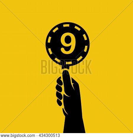 Score Card 9. Number Table. Digit Rating On A Scorecard. Human Hand Holding Score Card. Black Scorec