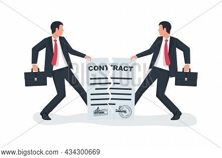 Break Of A Contract. Two Businessmen Pull Rope, Tearing Contract. Vector Illustration Flat Design. I