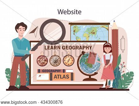Geography Class Online Service Or Platform. Students Learning The Lands