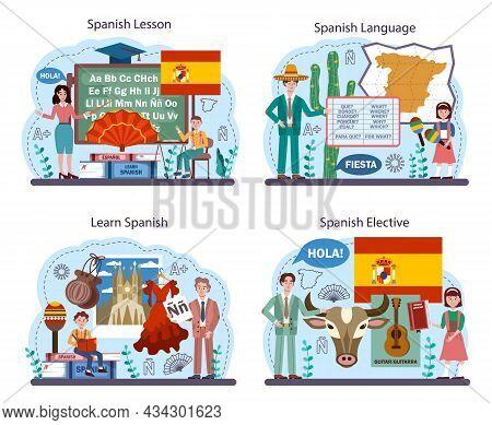 Spanish Language Concept Set. Language School Spanish Course. Study Foreign