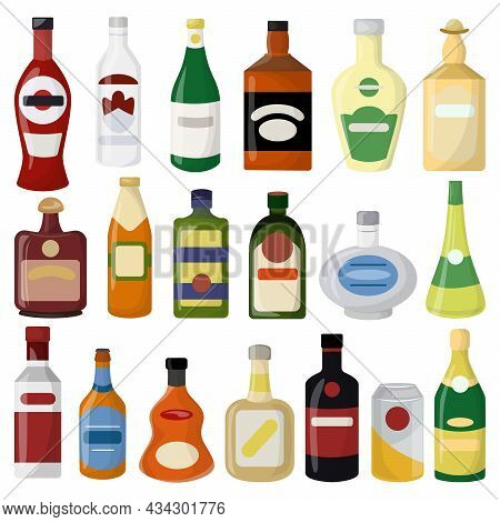 Different Alcohol Drinks Bottle Set. Beer And Wine, Vodka And Gin