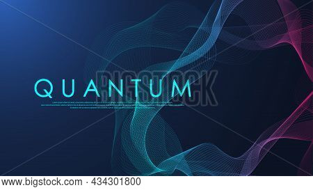 Wave Flow Of Quantum Computer Technology. Quantum Innovation Technology. Artificial Intelligence. Di