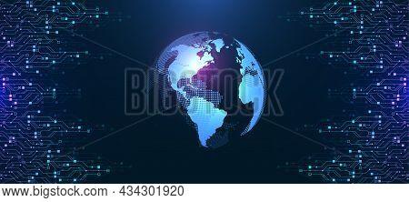 Modern Technology Circuit Board Texture Background Design. Waves Flow. Quantum Explosion Technology.