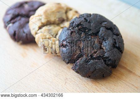 Assorted Soft Cookies Baked Different Flavors - Chocolate Chips, Red Velvet, Dark Cocoa For Healthy