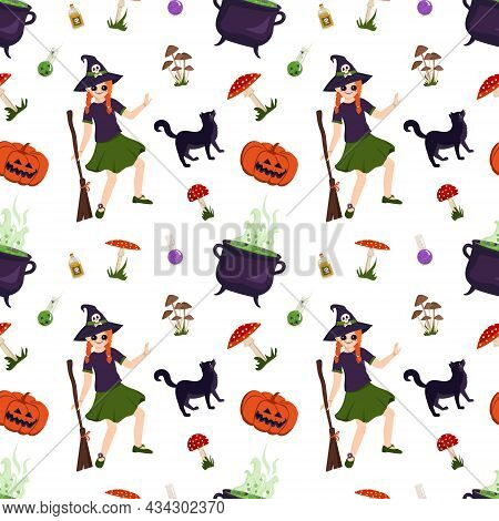 Halloween Seamless Pattern With Girl Witch, Black Cat, Pumpkin, Toadstool And Fly Agarics. Festive P
