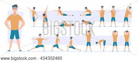 Sport Stretching. Muscles Flexibility Poses Workout Movements Action For Recreation People Exact Vec