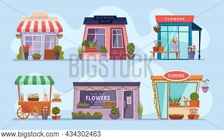 Flowers Shop. Beauty Boutique With Bouquets Of Flowers Colored Exotic Plants Exact Vector Illustrati
