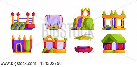 Tumbling Trampolines. Inflatable Castles And Entertainment Jumping Trampoline Sport Events For Cheer