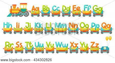 Train Alphabet For Kid In Cartoon Style. Vector Abc Letters For Children Education In School, Presch