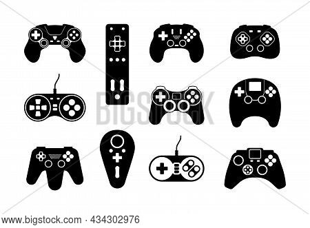 Game Controllers Icon. Smart System Digital Joystick For Video Games Garish Vector Black Symbols Col