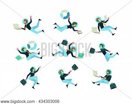 Business Space. Universe Characters Managers Corporate Business Persons In Costumes With Suitcase An