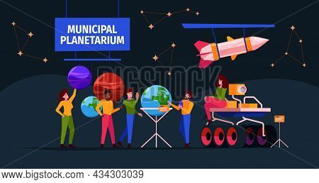 Planetarium Interior. People In Space Museum Innovation Systems For Education Characters Solar Syste