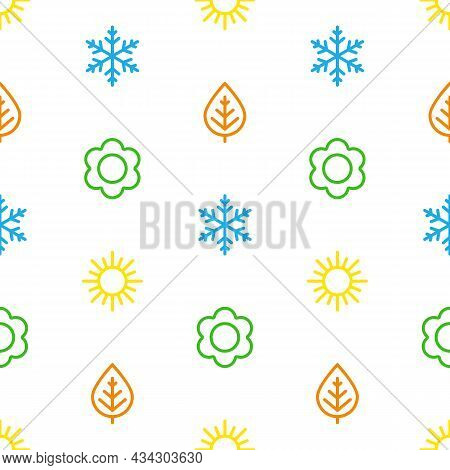 A Set Of Colorful Seamless Background Of Seasons. The Seasons - Winter, Spring, Summer And Autumn. W