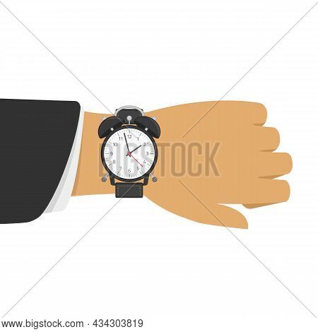 Alarm Clock On The Hand Of Businessman In Black Suit. Vector Illustration Of Time On Wrist Watch. Ma