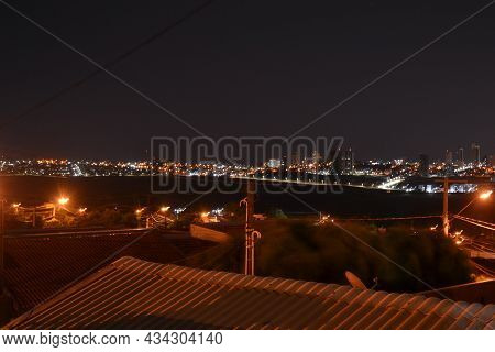 Downtown, Panoramic Night View Of The City Center In The Interior Of Brazil, With Buildings, Lightin