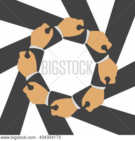 Teamwork, Cooperation Vector Illustration In Flat Style. Four Businessman Hands Hold Each Other. Ach