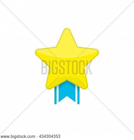 Golden Star With Blue Ribbon. Gold Medal, Award Sign. Medal Icon In Flat Style Isolated On White Bac