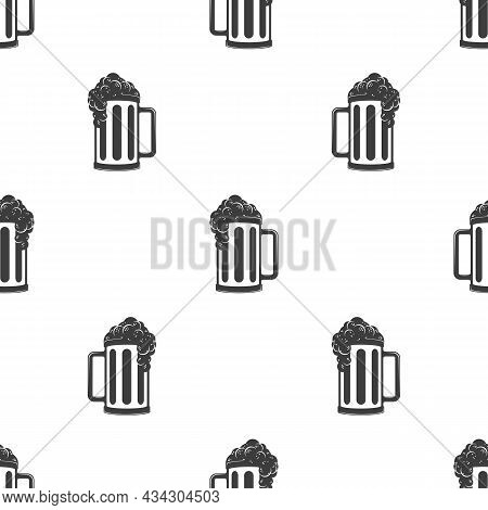 Beer Seamless Background. Glass With Beer Or Ale Simple Texture. Alcoholic Beverage Festival Concept