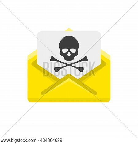 Open Envelope And Document With Skull Icon. Virus, Malware, Email Fraud, E-mail Spam Or Hacker Attac
