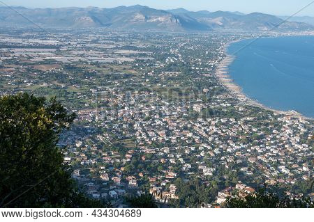 Aerial View San Felice Circeo, Italian City In Province Latina On Tyrrhenian Sea, Tourists Vacation