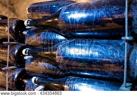 Deep And Long Undergrounds Caves For Making Champagne Sparkling Wine From Chardonnay And Pinor Noir