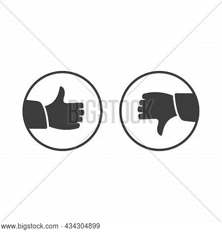 Like And Dislike Icon. Thumbs Up And Down Sign In Flat Style. Concept For User Feedback For Social N