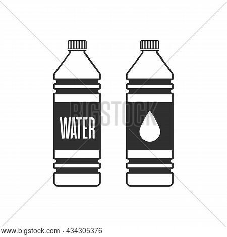 Bottle Of Water Icon In Flat Style. Plastic Bottle Of Fresh Drinking Water Isolated On Blue Backgrou