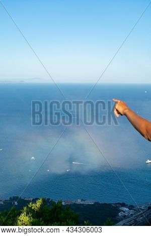Aerial View San Felice Circeo, Italian City In Province Latina On Tyrrhenian Sea, With Reflection In