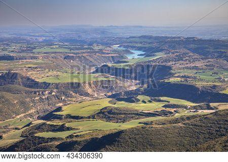 Aerial View Of Rio Flumen Valley, Huesca, Spain
