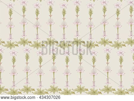 Seamless Pattern, Background. Colored Vector Illustration. In Baroque, Rococo, Victorian, Renaissanc