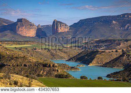 View Of Salto De Roldan Over Rio Flumen Valley And Embalse Montearagon Reservoir Near Huesca, Spain