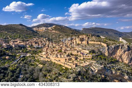 Village Of Alquezar In Sierra De Guara In The Spanish Pyrenees Near Huesca, Aragon, Spain