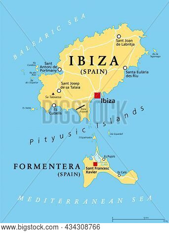 Ibiza And Formentera Island, Spain, Political Map. Pityusic Islands Commonly Known As Pine Islands,