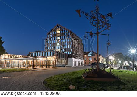 Klaipeda, Lithuania - September 25: Old Town Architecture, Night Time At September 25, 2021 In Klaip