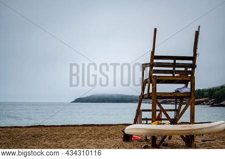 Empty Life Guard Watchtower On The Sand Beach Of Acadia National Park