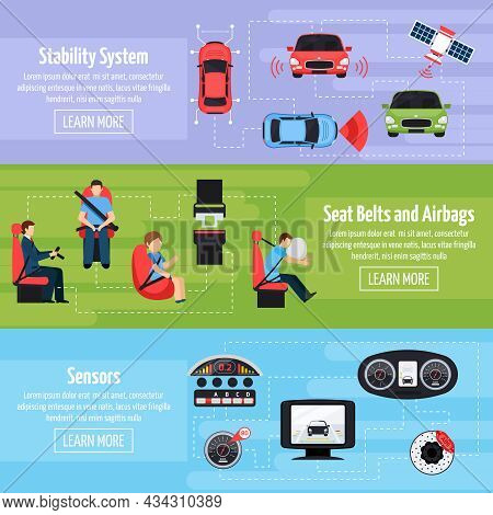 Car Safety Systems Horizontal Banners With Auto Protection Regulation And Detection Equipment In Fla