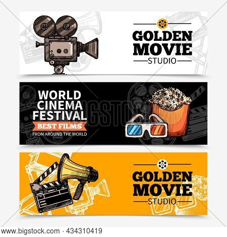 Cinema Horizontal Banners With Studio Title Camera Clapperboard Popcorn 3d Glasses And Megaphone Vec