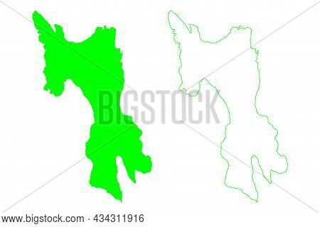 Leyte Island (southeast Asia, Republic Of The Philippines, Visayan Islands Or Archipelago) Map Vecto