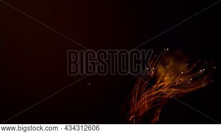 Abstract Aqua Particle Background,  Floating Gold Particles In Background