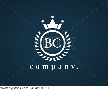 Letter Bc Laurel Wreath Monogram Template. Beautiful Crown Logo For Royalty, Business Card, Boutique