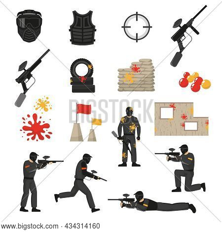 Flat Icons Set Of Paintball Field Elements Stuff And Players Isolated On White Background Vector Ill