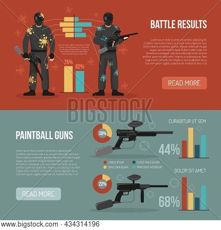 Two Horizontal Banners Set With Paintball Battle Results And Guns Statistics Flat Isolated Vector Il