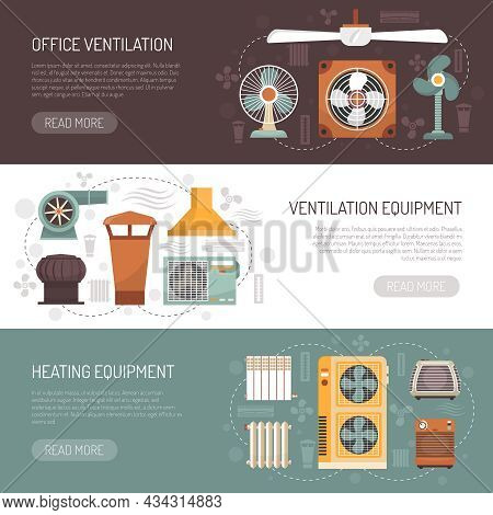 Colorful Ventilation Conditioning And Heating Equipment For Office And Home Flat Banners Isolated Ve