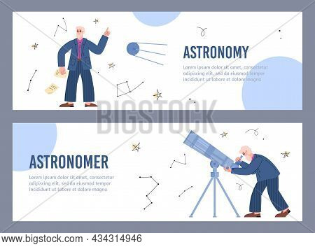 Astronomy Website Banners Kit With Astronomer Character, Vector Illustration.